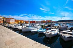 Boats in the old Istrian town Stock Photo