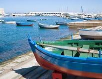 Boats at the old port of Bari. Apulia. Stock Image