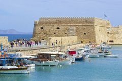 Boats in the old port of Heraklion, Crete island, Greece. Royalty Free Stock Photo