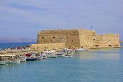 Boats in the old port of Heraklion, Crete island, Greece. Royalty Free Stock Image