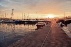 Boats in the old port of Saint Tropez, French Riviera Stock Photography