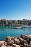 Boats in the old town harbor of Kaleici Antalya Turkey Stock Photo