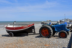 Boats, Old Tractor Cromer Beach, Norfolk, Englan Stock Photography