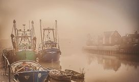 Free Boats On A Foggy River. Royalty Free Stock Photos - 105926418