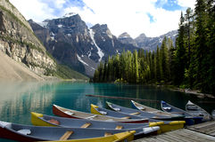Boats On Moraine Lake, Canada Stock Photography