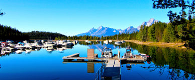 Boats On The Lake In Grand Teton National Park Royalty Free Stock Image