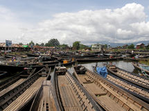 Boats in Open Market. Boat parking in traditional open market in lake inle Myanmar Royalty Free Stock Photography
