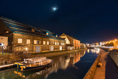 boats on Otaru canals at dusk royalty free stock photos