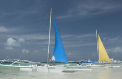 Boats outside Boracay beach Stock Photography