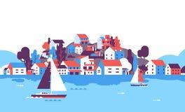 Boats over beach seaside island houses hotels background sea yacht coast summer vacation concept flat horizontal. Vector illustration royalty free illustration