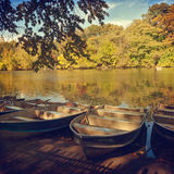 Boats over lake in Central Park, New York, NY Stock Photography