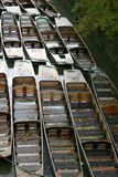 Boats @ oxford. Wooden punts moored on Oxford river Royalty Free Stock Image