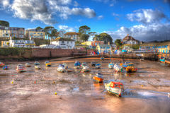 Boats in Paignton harbour Devon England uk in colourful HDR Royalty Free Stock Photography