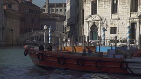 Boat traffic at Palazzo Balbi in Venice stock video footage