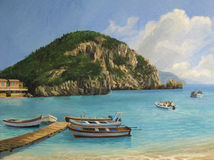 The Boats of Paleokastritsa. An oil painting on canvas of a tourist boats in the bay of Paleokastritsa on island of Corfu. Summer seascape at the beach in a Stock Image