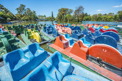 Boats on Palermo Woods in Buenos Aires, Argentina. Colorful boats on Parque Tres de Febrero, also known as the Bosques de Palermo (Palermo Woods), a 400 Stock Images