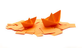 Boats on paper scrap Royalty Free Stock Image
