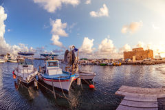 Boats at Paphos harbor with the castle on the background. Cyprus Stock Photos