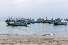 Boats in the Paracas National Reserve, Peru Stock Images