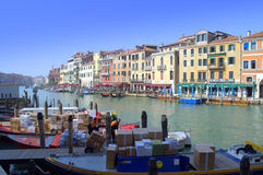 Boats parcel delivering in Venice Stock Photography