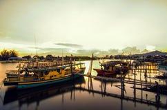 Boats park at Esplanade Tanjung Api, Kuantan Royalty Free Stock Image