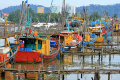 Boats park at jetty Royalty Free Stock Images