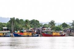 Boats park at jetty Stock Photo