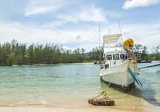 Boats park at sea shore. With cloudy weather Royalty Free Stock Images
