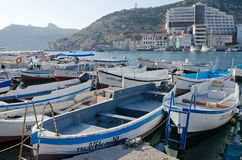 Boats parked in Balaclava Stock Image