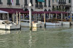 Boats parked at the Grand Canal Royalty Free Stock Image