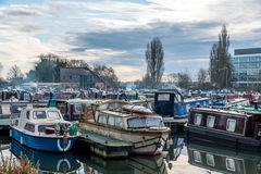 Boats parked at Marina in Northampton. United Kingdom royalty free stock photography