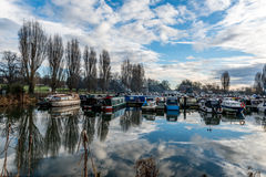 Boats parked at Marina in Northampton. United Kingdom Royalty Free Stock Photo