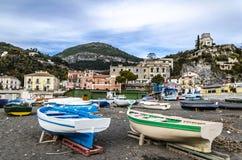 Boats parked on the sand on an amalfi beach. Italy. Boats parked on the sand on an amalfi beach near Positano. Italy royalty free stock photos