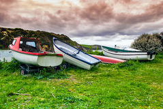 Boats parked at the sea's edge. Royalty Free Stock Photography