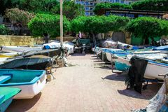 Boats parked in Sliema, Malta. A number of blue boats parked next to the sea Royalty Free Stock Photos