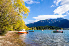 Free Boats Parking At The Jetty Of Lake Wakatipu In Queenstown, New Zealand. Stock Image - 71783951