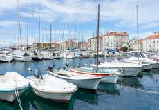Boats parking near quay Stock Photos