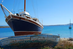 Boats on Paros Island, Greece. Boats on a beach. Paros island, Greece stock photography