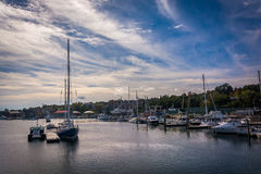 Boats in the Passagassawakeag River in Belfast, Maine. Royalty Free Stock Photos