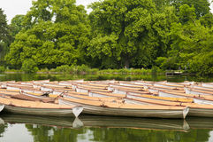 Boats on peaceful lake Royalty Free Stock Photos