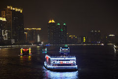 Boats on Pearl river at night Royalty Free Stock Photography