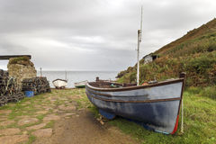 Boats at Penberth Cove in Cornwall Royalty Free Stock Photo