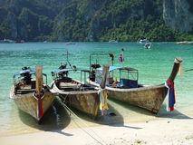 Boats at Phi Phi beach. Boats in touristic Phi Phi island, Thailand Royalty Free Stock Images
