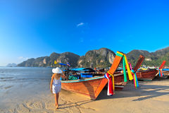 Boats at Phi phi island Royalty Free Stock Photos