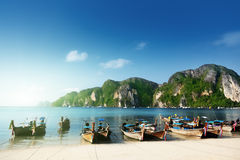 Boats on Phi Phi island Stock Photography