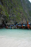 Boats on Phi Phi Ley Island Royalty Free Stock Image