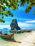 Boats on Phra Nang beach, Thailand Royalty Free Stock Images