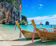 Boats on Phra Nang beach, Thailand Stock Photos