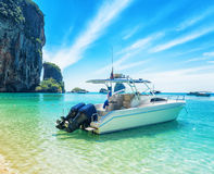 Boats on Phra Nang beach, Thailand Royalty Free Stock Image