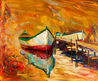 Boats and pier. Original oil painting of boats and jetty(pier) on canvas.Sunset over ocean.Modern Impressionism Royalty Free Stock Photos